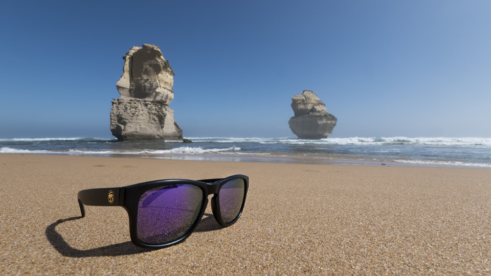 I got the package of sunglasses right before I left for Australia so I brought a pair or two with me and managed to get this one on the beach at the 12 Apostles in Victoria, Australia.   Panasonic GH4, Panasonic 7-14mm f/4   (iso1  00, f/9  , 1/40  0s)