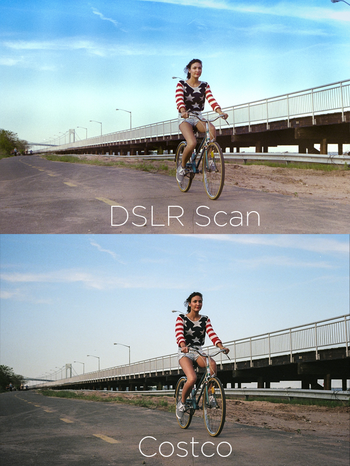 Here is an example of the DSLR scan vs what I got at Costco.  As you can tell, the DSLR shot RAW gives you much more dynamic range and much better colors.  I also didn't notice before, but the scan from Costco cropped the image a bit, so if it was something important, I would've lost some of the photo.