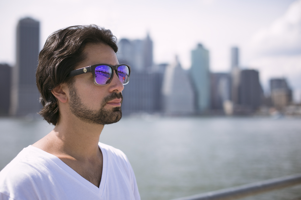 Here is a shot of me rocking my favorite pair that I have at the moment. Black to clear gradient wayfarers with black arms and purple lenses.