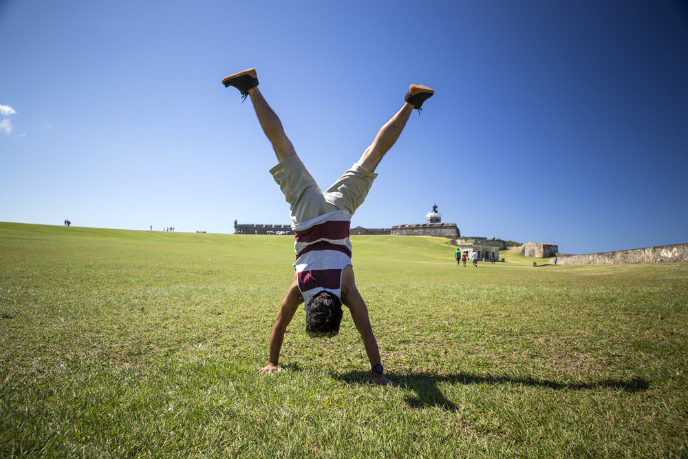Here is a bonus shot of me doing a handstand on the lawn I shot the previous photo from. You can see the people walking along the path on the left side of the frame.