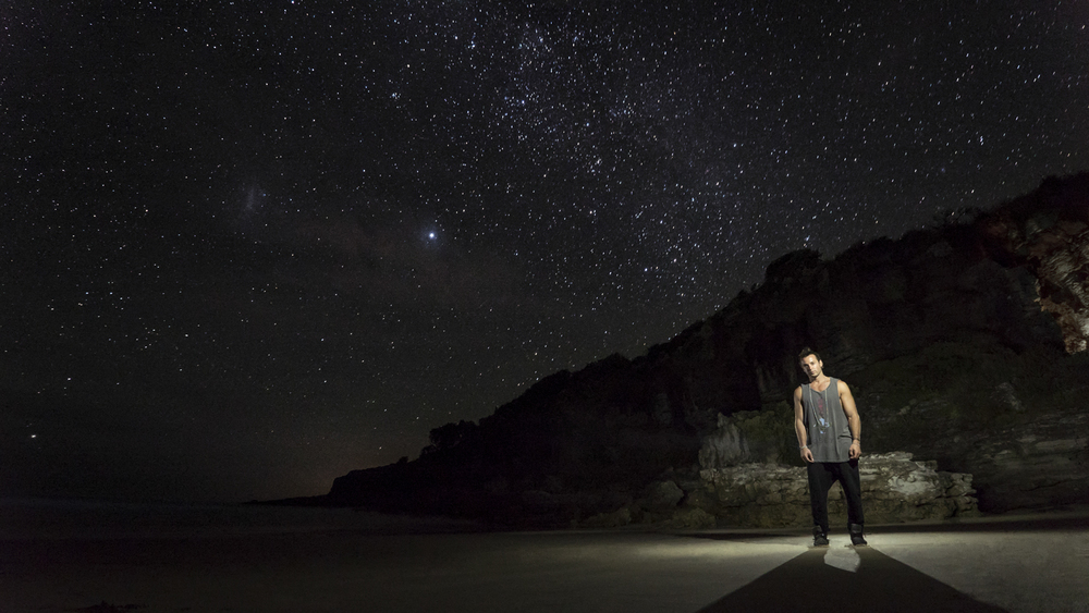 Justin Brasco at Jervis Bay.  Panasonic GH4, Panasonic 7-14mm f/4 @7mm (iso1600, f/4, 50s)