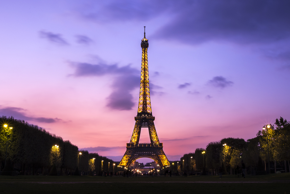 I couldn't leave paris with at least one landmark photo which I was proud of.  One evening we raced to get a sunset of the Eiffel Tower. After scouting out a few locations, I ended up with this.  Canon 6D, Canon 50mm f/1.4 (iso50, f/16, 5s)