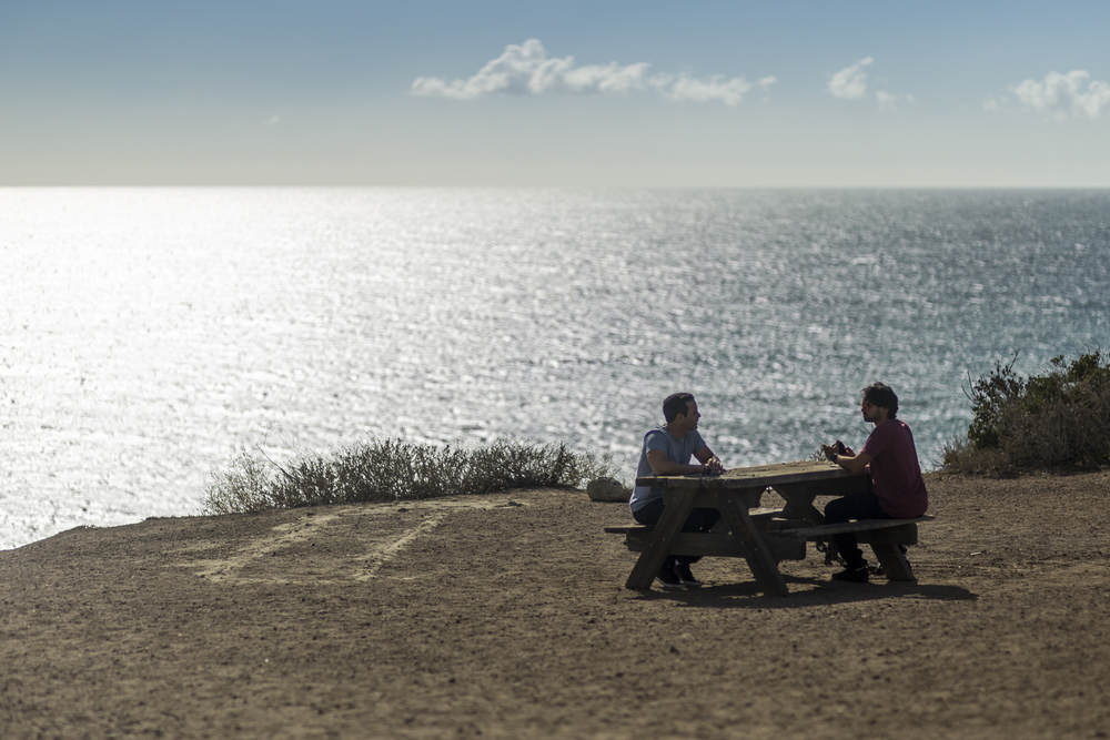 My friend Adam and I took a drive up the coast to check out the cliffs along the beach in Malibu.   First stop was this random picnic table overlooking the view of the beach down below.  I set up my camera on a GorillaPod on another table a few yards away.  Canon 6D, Canon 85mm f/1.8 (iso50, f/1.8, 1/3200s)