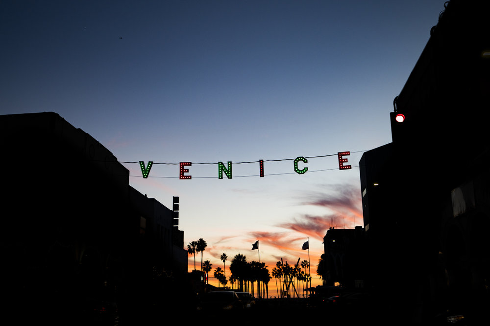 venice beach sign los angeles california sunset austin paz