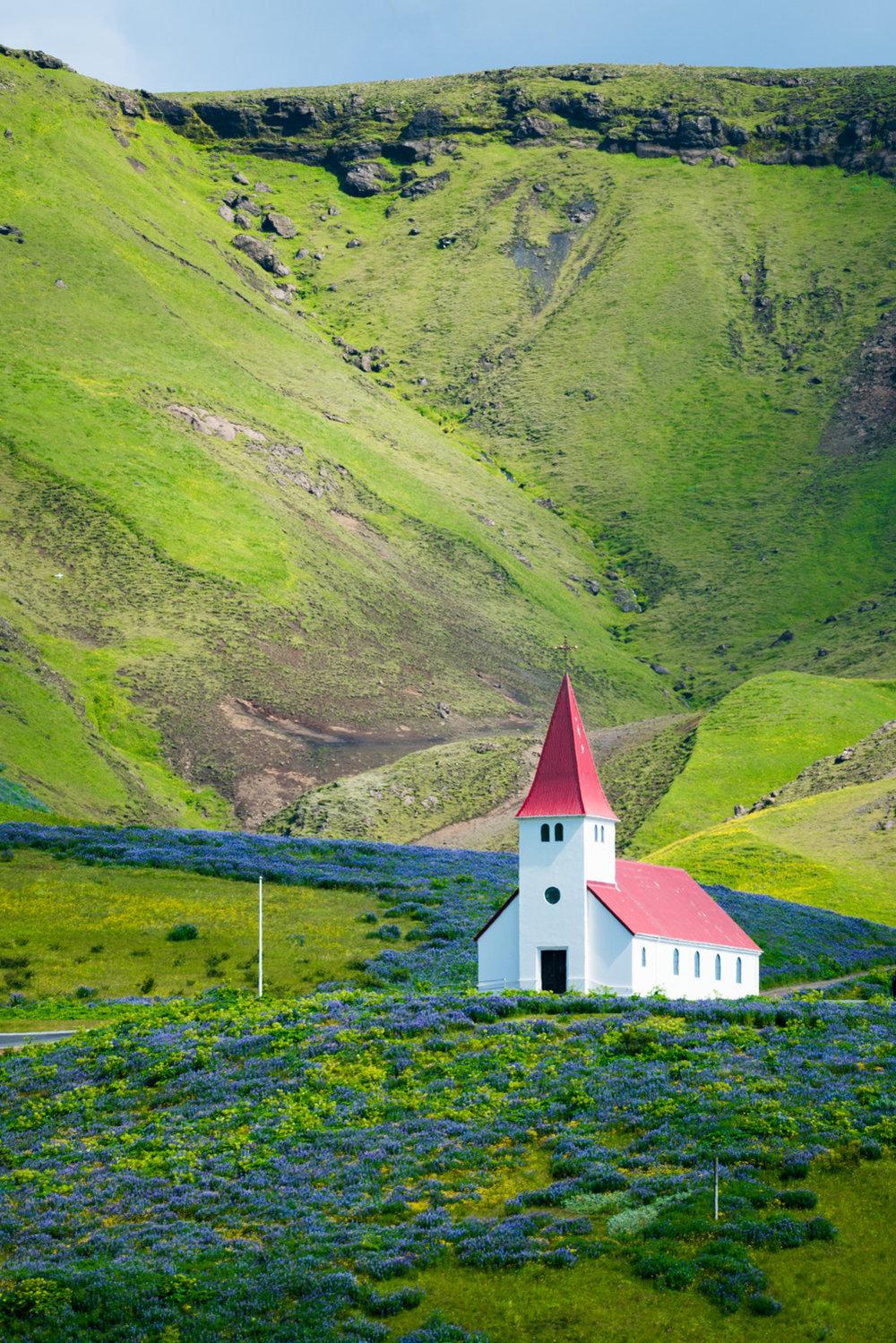 iceland vik church landscape travel photography