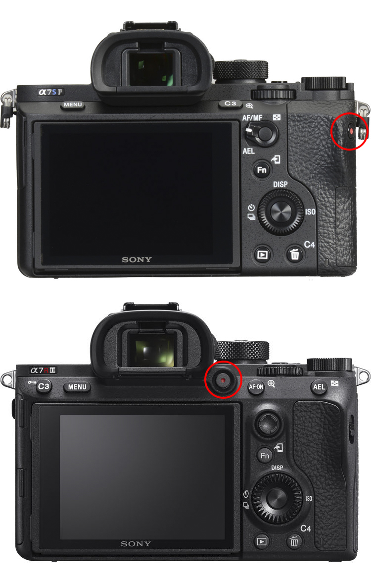 Record Button Placement On Sony A7SII vs Sony A7RIII