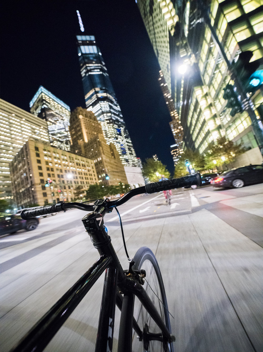 Sony A7RII, Sony 12-24mm f/4 (iso12,800, f/4, 1/50s)  I shot this photo while riding down the bike lane towards the World Trade Center.  I did this one with no hands and an extremely high iso.  Four days after I shot this photo, a person drove his truck onto the bike path and killed eight people right in this very same intersection I am crossing on my bike.  I seem to keep just missing these insane terrorist attacks.