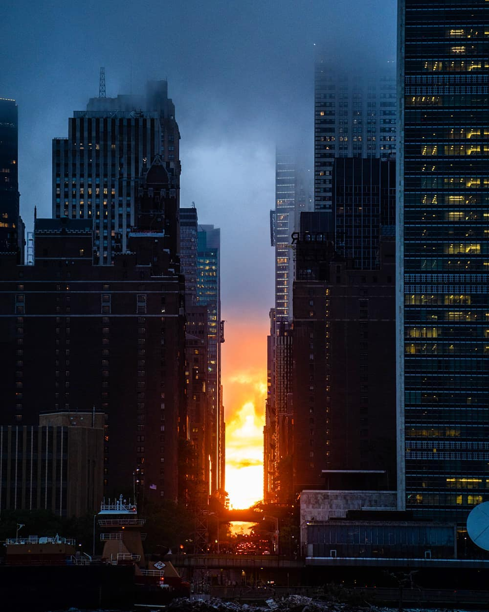 A view of 42nd St for Manhattanhenge.