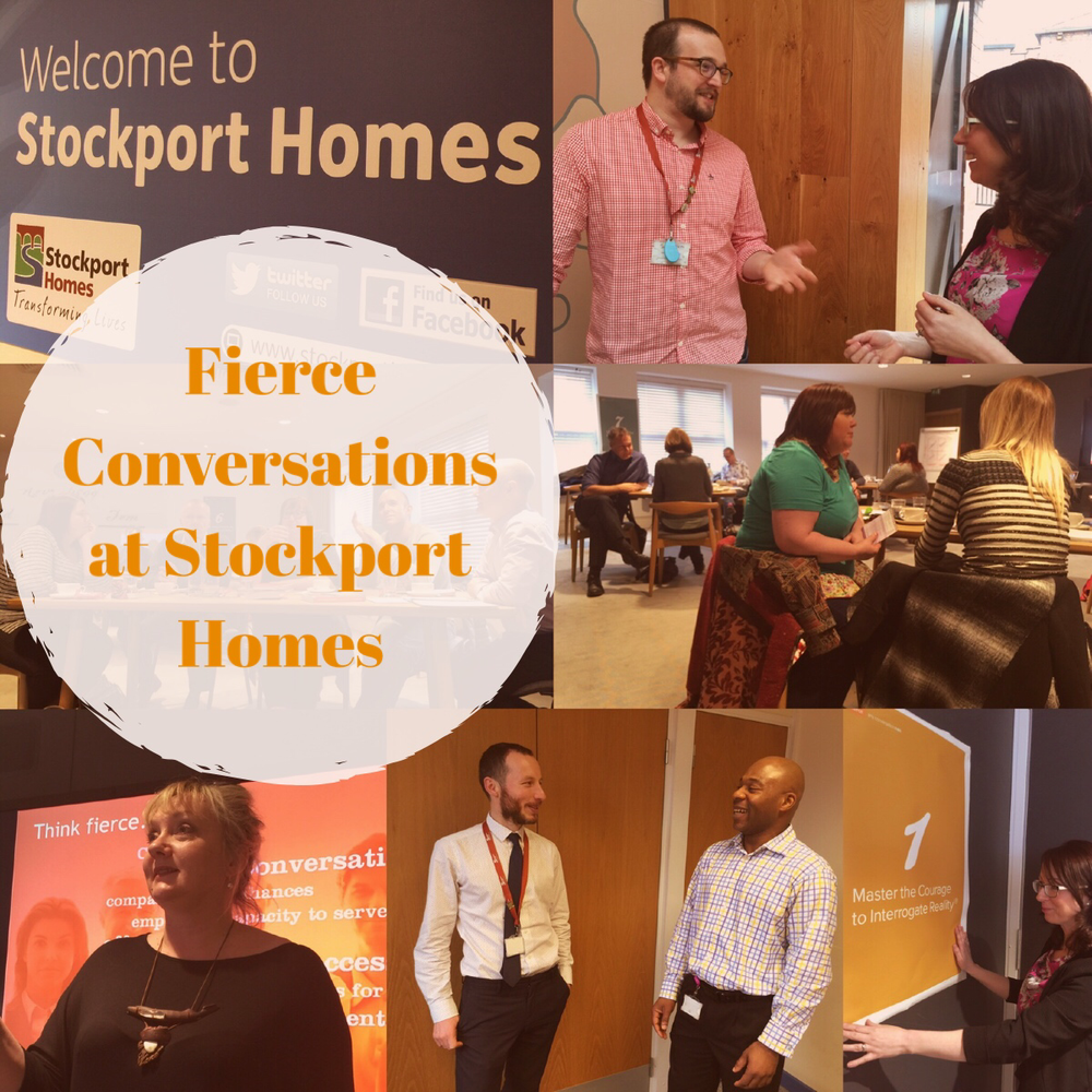 Fierce at Stockport Homes (clockwise): Sam Netherwood and colleague Liz Chadwick from the OD team, some of the 70 Stockport Homes people taking part in Fierce training, Liz Chadwick, Rob and Chris from corporate services are putting Fierce into action in their daily activities,  PDA's Sarah Vogel delivering a Fierce workshop.