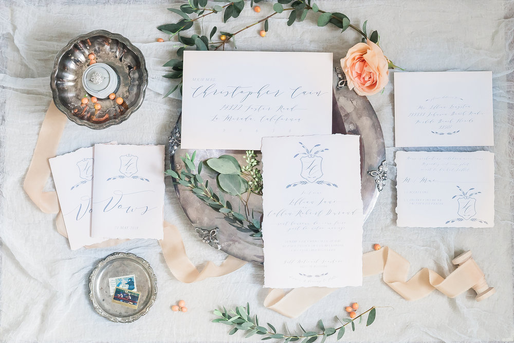 Invitation Suite Design and Envelope Addressing: Susan Wilson Designs. Photo Credit: Manda Weaver Photography.