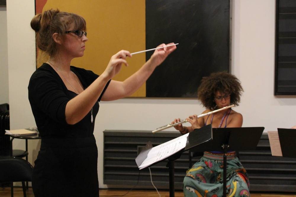 Conducting Hotel Elefant @ Scholes Street Studio, 2014 (Featured in photo: Dominica Fossati)