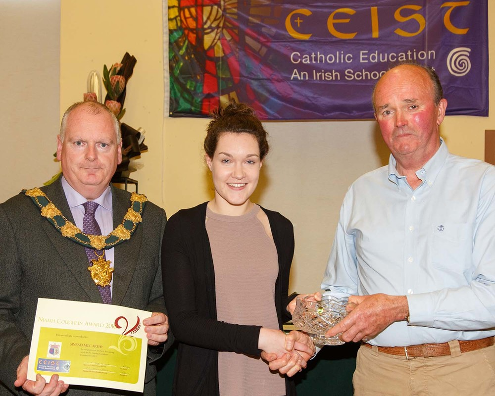 Sinead McCarthy  Leaving Certificate Student of the year, winner of  The Niamh Coughlan Memorial Award and Top Chemistry Student in Leaving Certificate 2015
