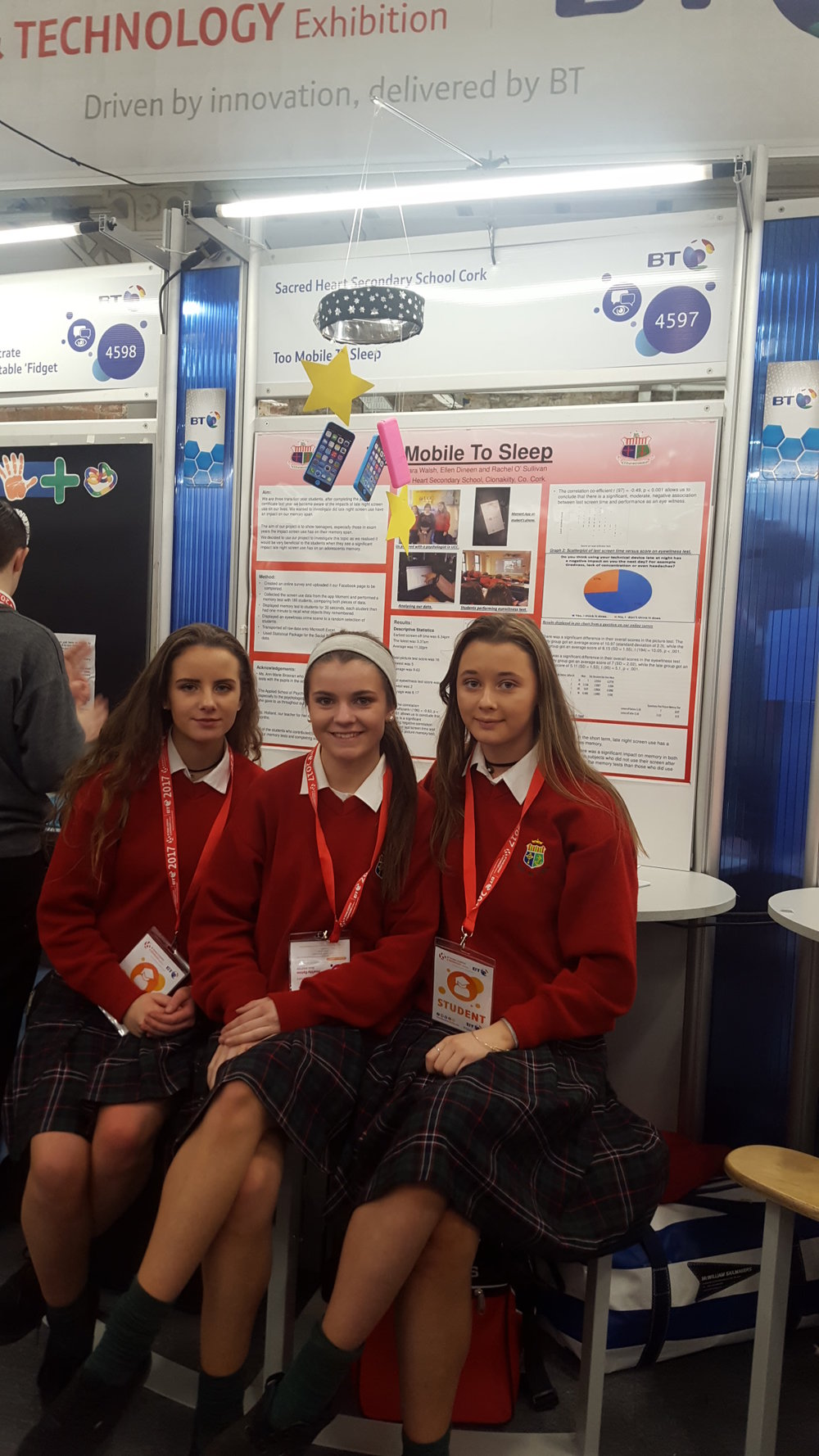 Group 2. Rachel O'Sullivan, Ellen Dineen and Ciara Walsh. Their project is an investigation into the effect late night screen use (tablets and mobile phones) has on your memory.