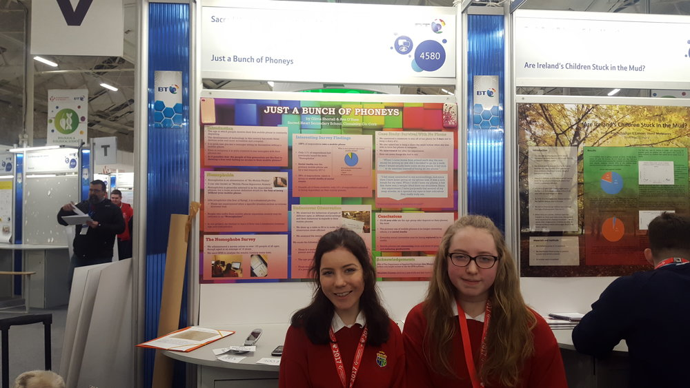 "Group 3. Olivia Shortall and Ava O'Hare. Their project is investigating ""nomophobia"" the fear of being without your mobile phone."