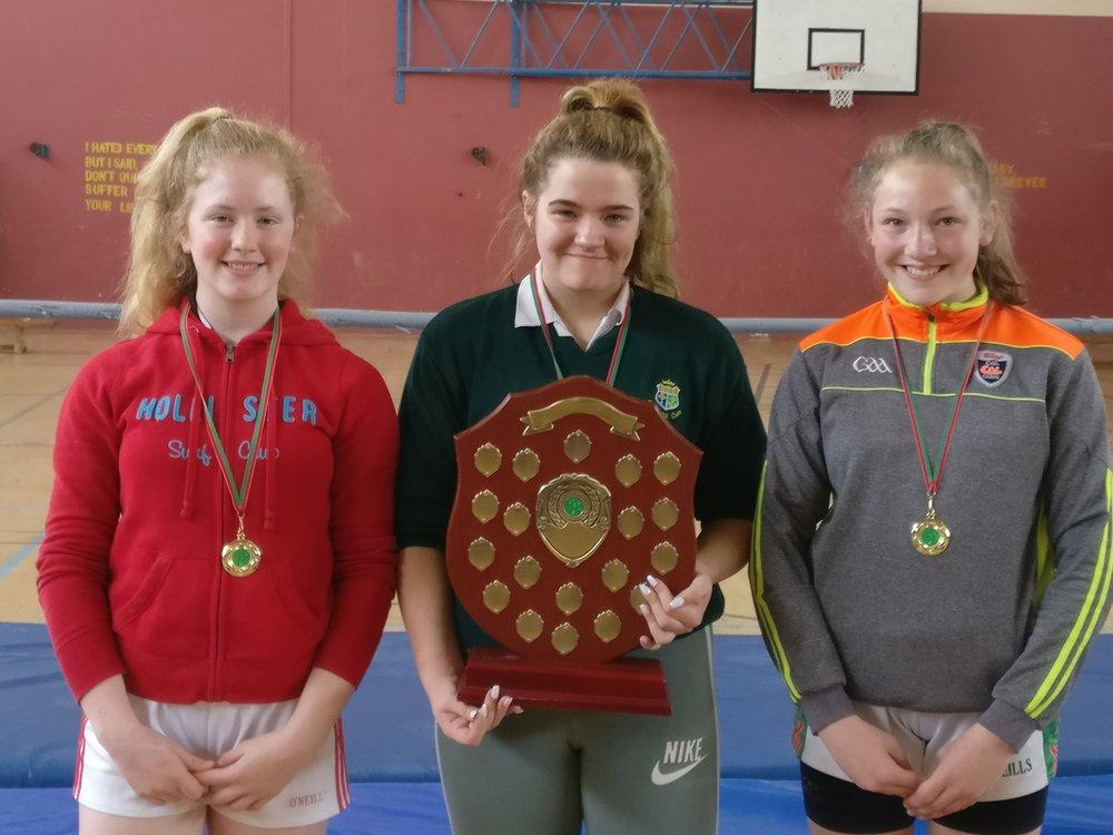 2nd year winner Eimear O'Brien, over all winner Kiya O'Mahony and 1st year winner Ciara White