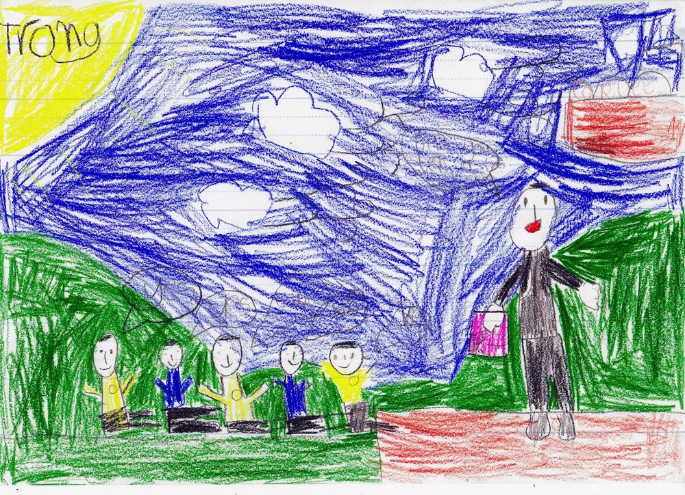 This fantastic picture comes courtesy of a young student after a recent school visit and depicts Luis presenting the Junior Chocotier Program activity 'Baking A Chocolate Book' to students prep to grade six.