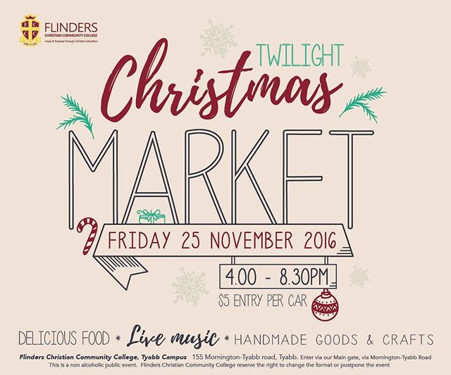 Calling all fans of Chocolate Dreams! This Friday the 25th of November I'll have a very special give away to announce 😊if you live in the Mornington area head on down to the Flinders Christian Community College, they're having a wonderful Christmas market guaranteed to have something for the whole family!! 🎅🏼