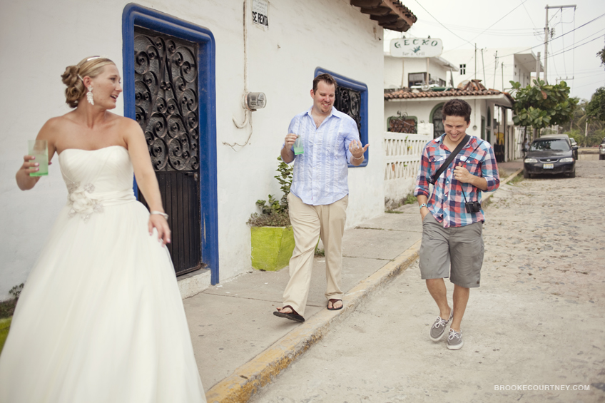 Walking with our clients Jon and Erin while shooting their wedding in Mexico.