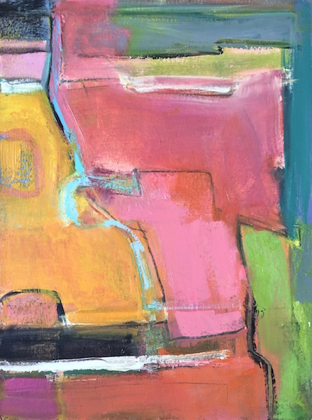 Pink Parade, 2016, oil on board, 20 x 15 in / 51 x 38 cm
