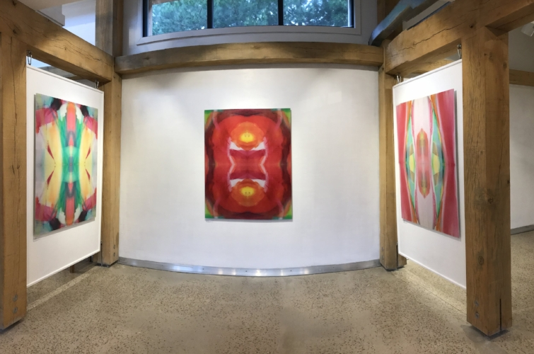 Trudy's artwork installed in Cypher at Tremenheere Gallery. Left to Right: Premonition, Dreamcatcher and Oracle, c-prints on aluminium, 127 x 100 cm