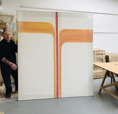 One of the 7ft paintings from the  Sacred Geometry  series I made while living near Venice, CA - as showcased by Dave from the haulage company.  Thanks Dave.