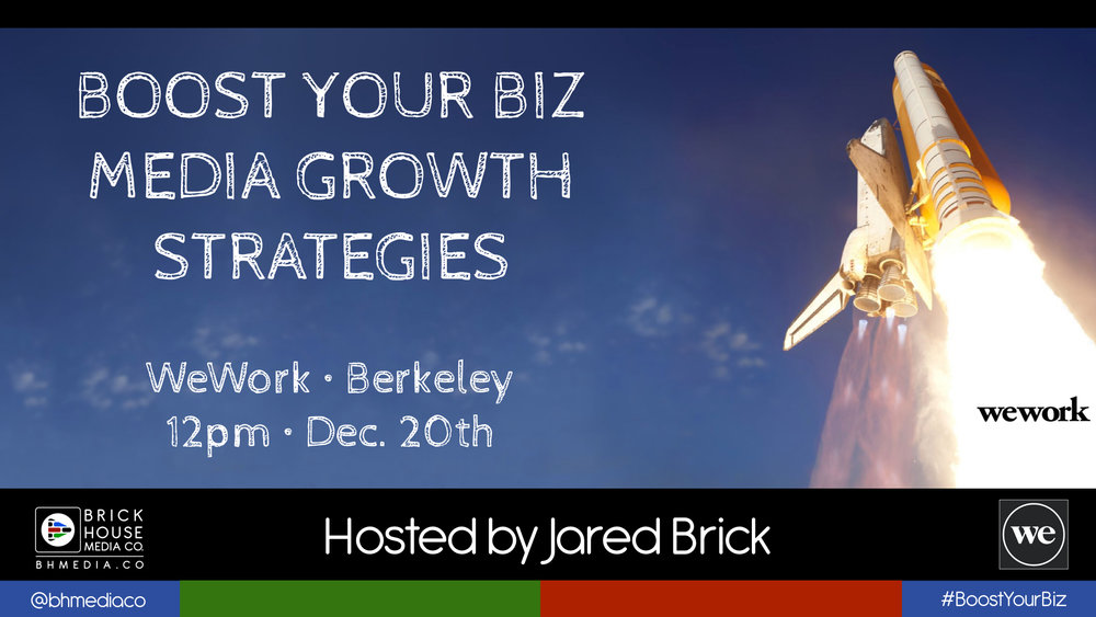 WEWORK • BERKELEY ON TUES. DEC., 20TH FROM 12PM LUNCHTIME EVENT!