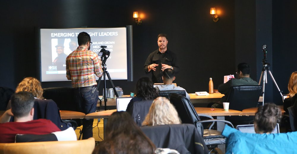 FOUNDING DIRECTOR, JARED BRICK, SPEAKING AT NEWCO BAY AREA IN OAKLAND, 2017