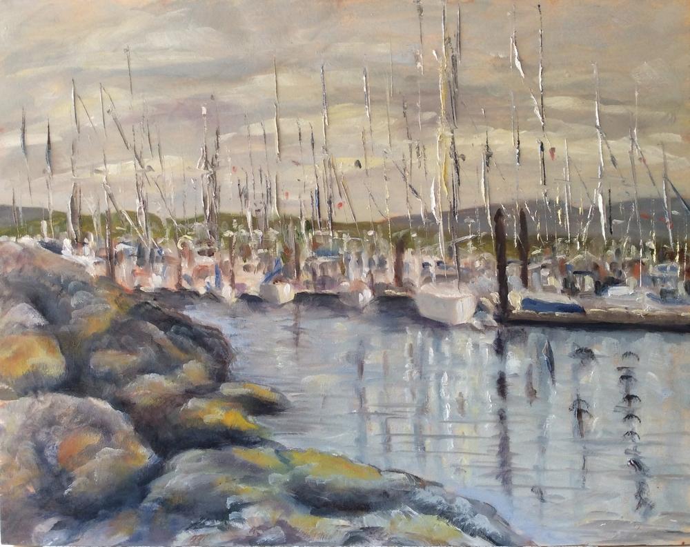 Mastheads in the Marina   Oil 11 x 14