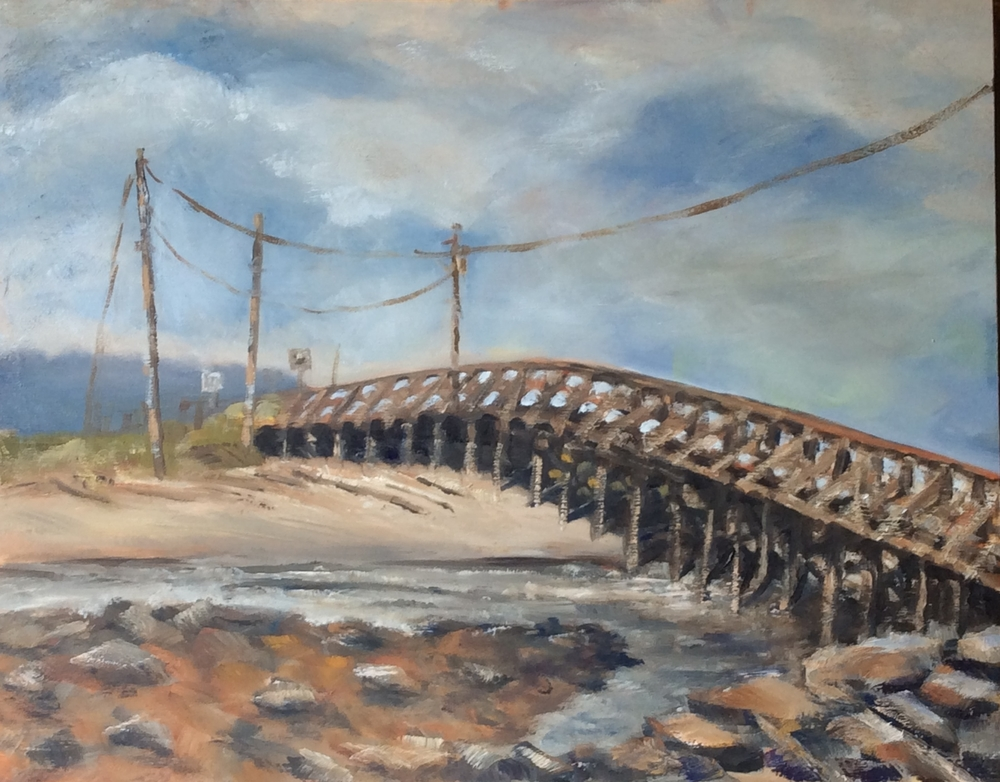 Wooden Bridge and Wires   Oil 11 x 14
