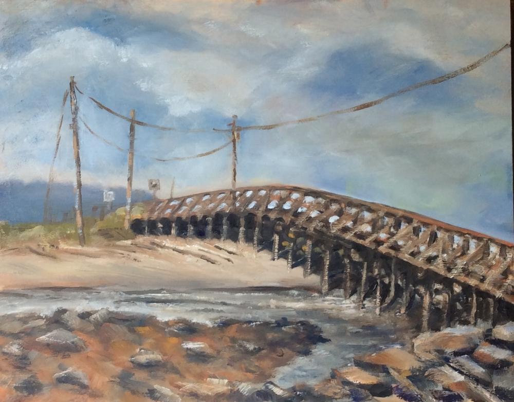 Wooden Bridge and Wires   Oil 11 x 14