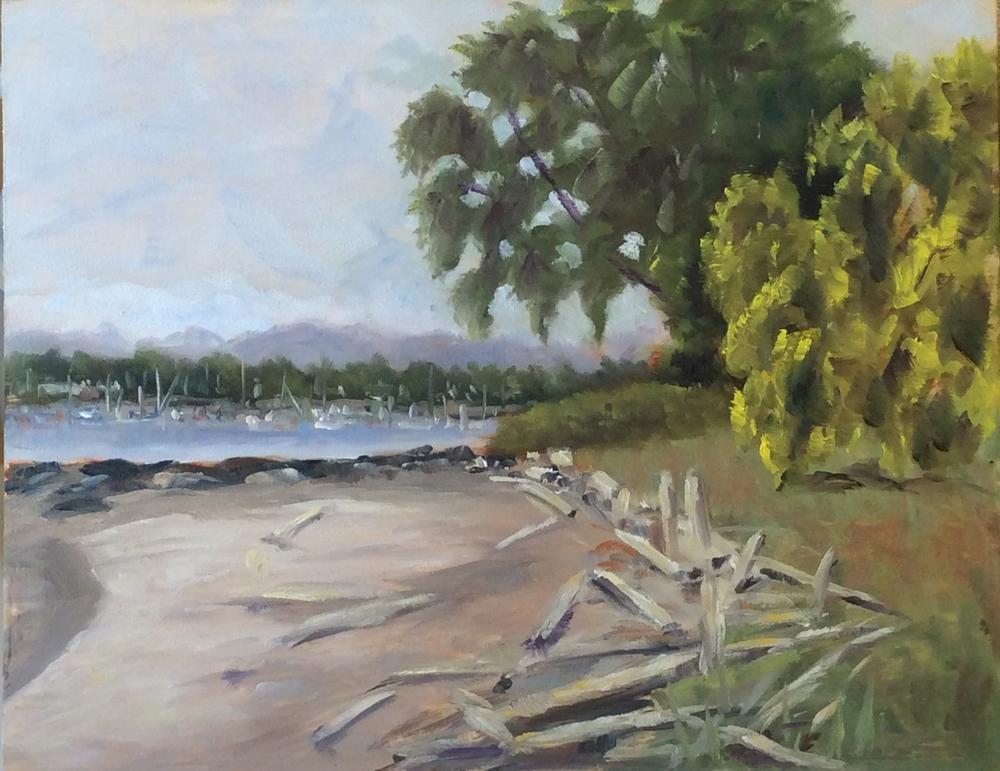 Along Willows Beach    Oil 11 x 14
