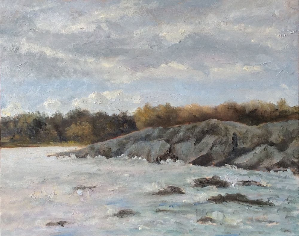 Rock, Sky and Sea   Oil 8 x 10