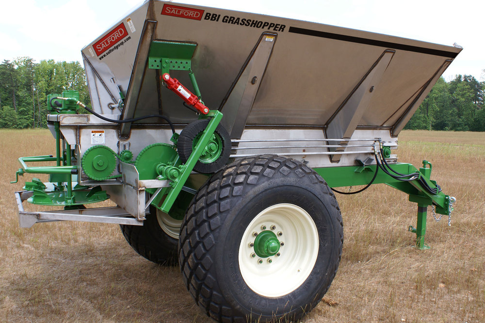 Salford BBI Grasshopper top-dress fertilizer spreader or lime spreader