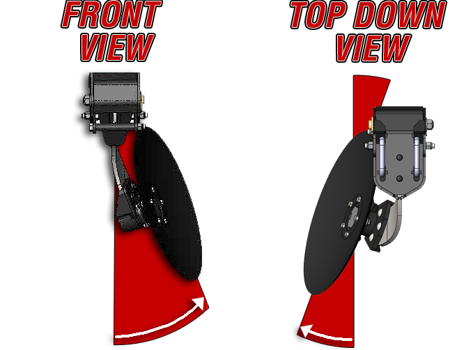 COMPOUND BLADE ANGLE - The 5200's patent pending rubber suspension blade mounts hold the blade on two angles; the first three rows are open faced similar to position the blade similar to the angled gang on a tandem disc.The blades are also tipped under to create suction that holds the 5200 in the ground when going through hard soil.