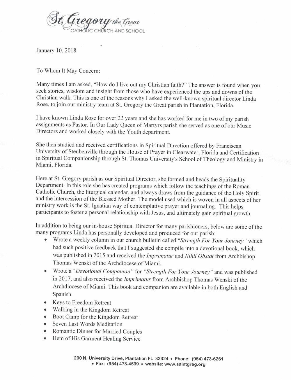 Letter from Pastor pg 1