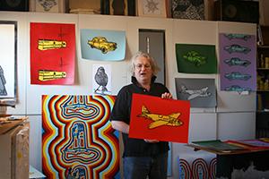 The artist Jon Waldo in his studio in New York.