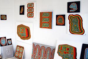 Paintings on canvas in Jon Waldo's studio.