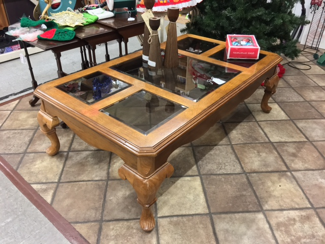 Wood and glass coffee table. $89.95