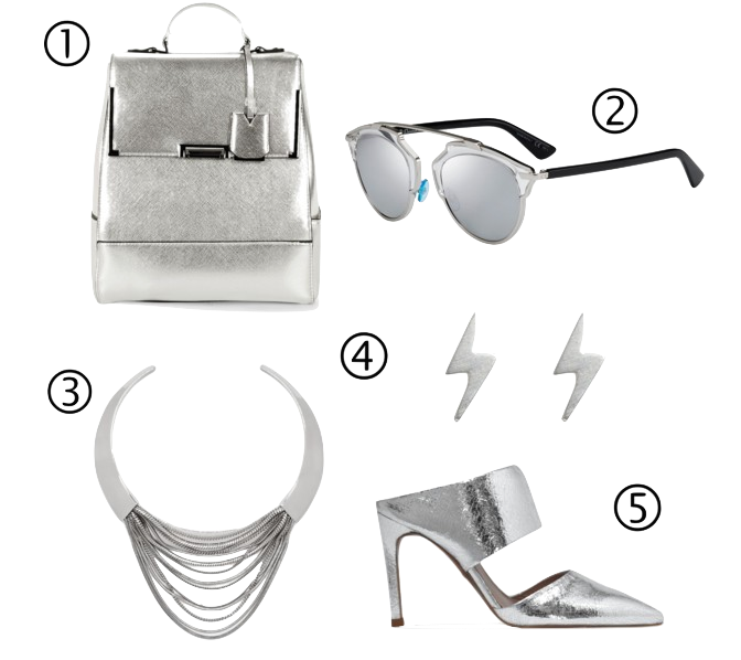 products: #1 ASOS backpack, #2 Dior sunglasses, #3 DIANE VON FURSTENBERG necklace, #4 DOGEARED earrings, #5 Whistles Mule pumps