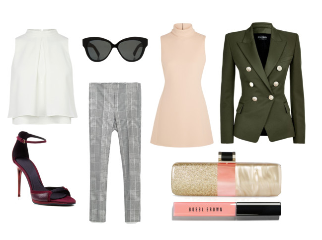 Products: #1 Caster White Blouse #2 Linda Farrow Black Sunglasses #3 Zara Trousers #4 Burberry Platform Sandals #5 Calvin Klein Mini-Dress #6 Balmain Double-Breasted Jacket #7 Halston Heritage Clutch #8 Bobbi Brown Illuminating Nudes Lip Gloss