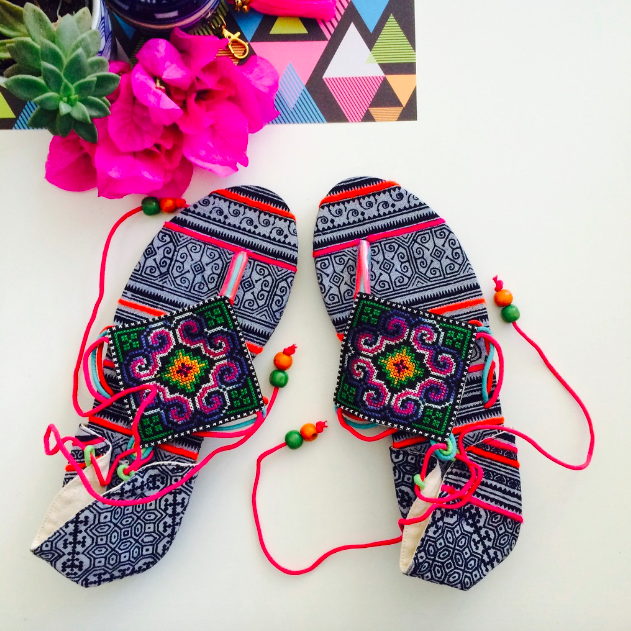 The Prism - Authentic Free Spirit Hmong Cross-Stitched Sandals