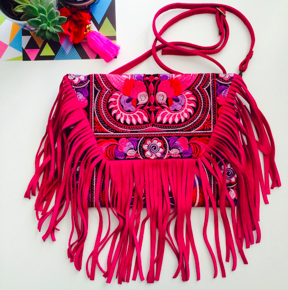 Dancing Birds Suede Pink Fringe Bag