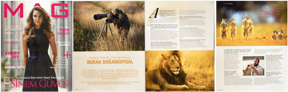 "MAG Magazine Issue #120   October 2015 | Pages 304-306   ""Burak Dogansoysal: Wildlife Photographer"" Interview about wildlife photography & film making"