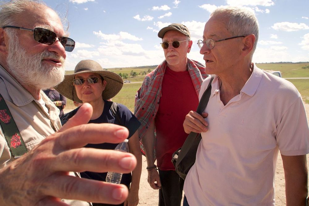 Bernie Glassman (L), Wendy Egyoku Nakao, Krishna Das, Michel Dubois (R), Black Hills, South Dakota 2015