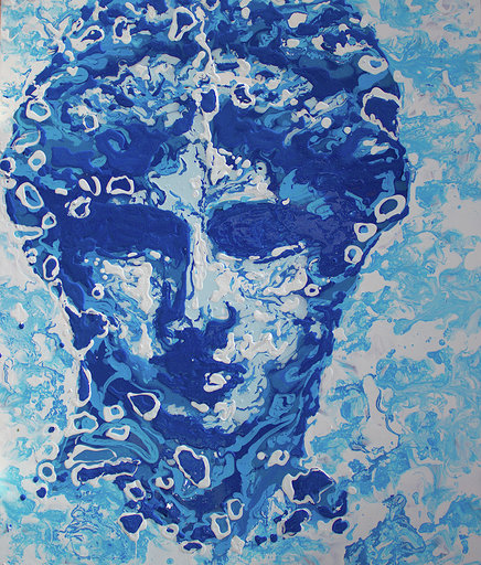 Drops on the Surfaces #13  enamel, varnish on metal panel  24 x 20