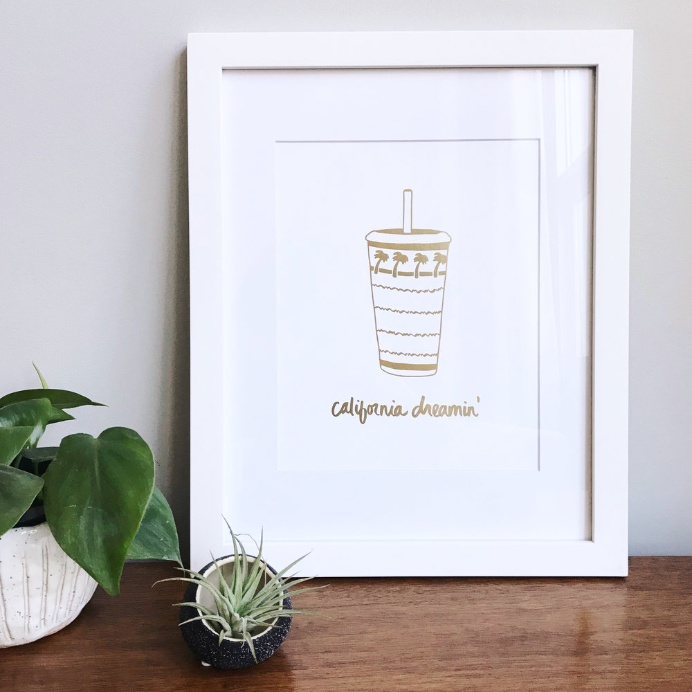CALIFORNIA DREAMIN' REAL GOLD FOIL PRINT (8x10) $40