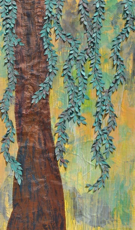 Large Weeping Willow 48x72 Sewn Copper on Canvas Available