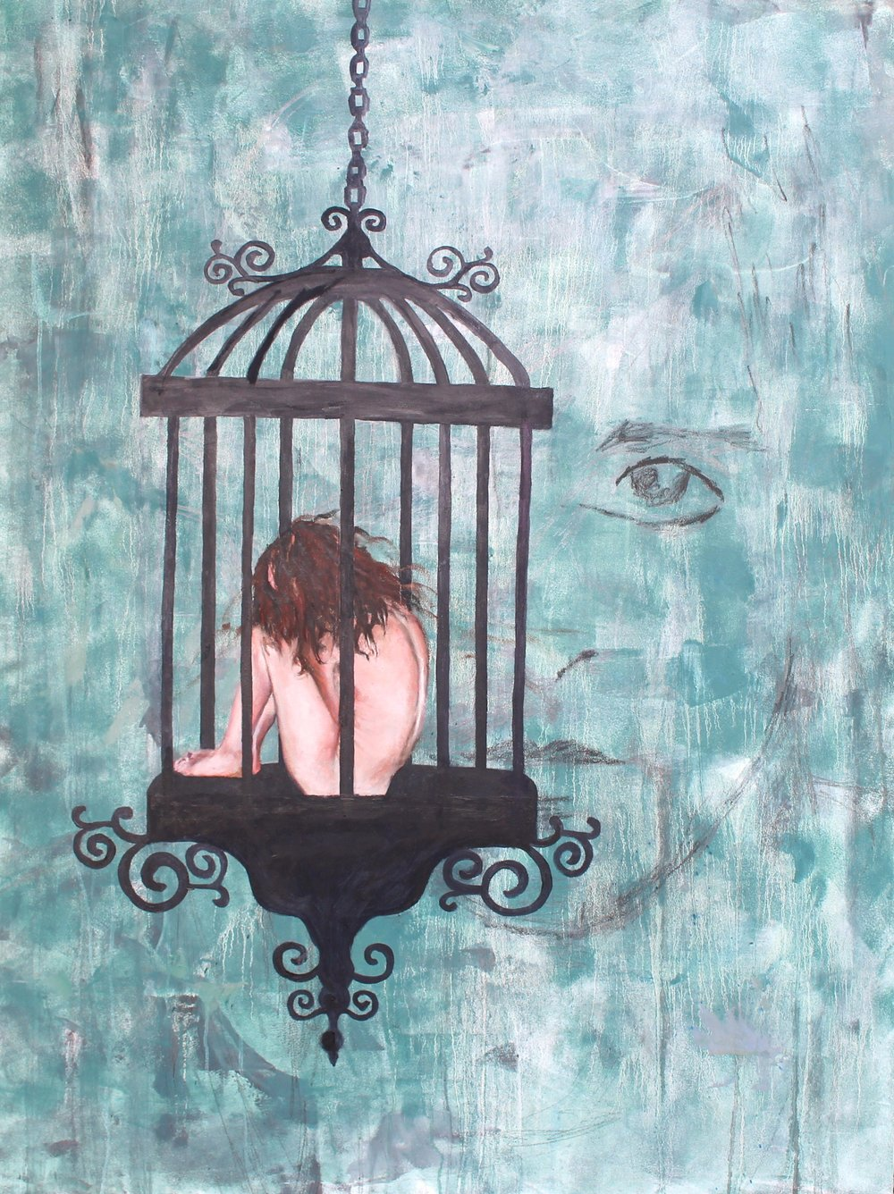 Caged Bird 36x48 Oil On Wood Commissioned for Public Display