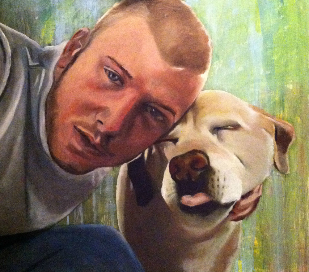 A Boy and his Dog 24x24 Commissioned for Private Collection