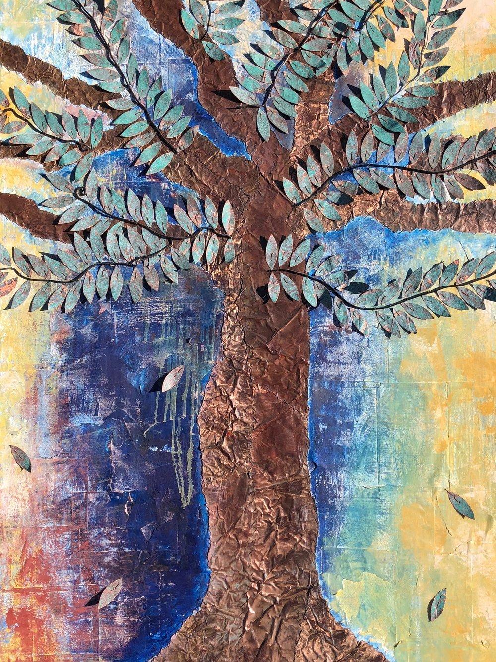 Ash Tree 36x60 Sewn Copper on Canvas